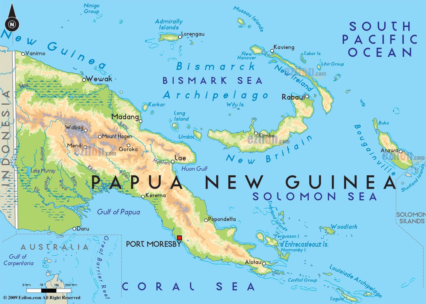 Paakaupunki Papua Uusi Guinea Kartta Kartta Paakaupunki Papua