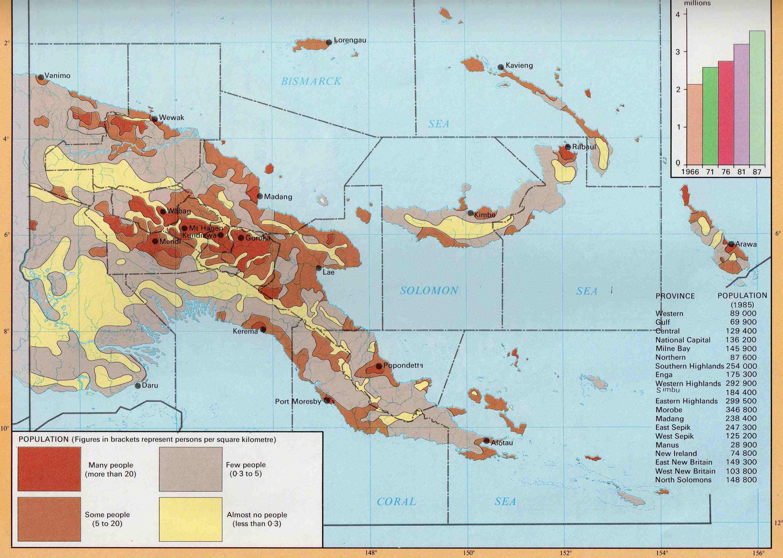 Papua Uuden Guinean Vaeston Kartta Kartta Papua Uuden Guinean