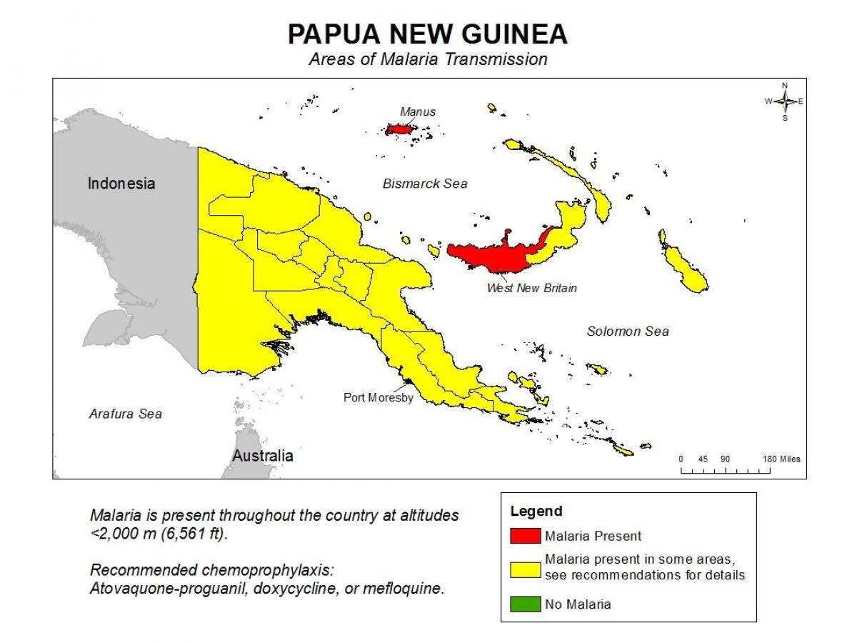 Papua Uusi Guinea Malaria Kartta Kartta Papua Uusi Guinea