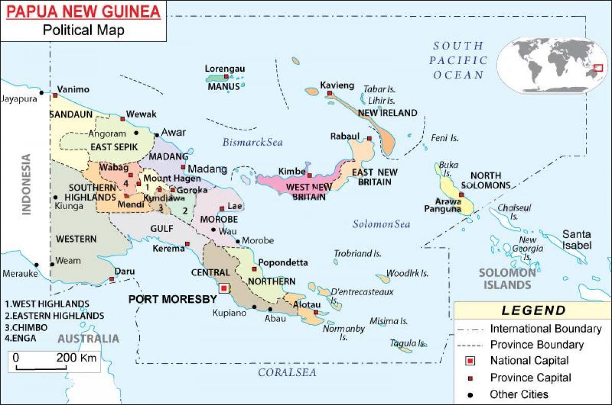 Papua Uusi Guinea Poliittinen Kartta Kartta Papua Uuden Guinean